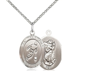 "Sterling Silver St. Christopher/Soccer Pendant, Sterling Silver Lite Curb Chain, Medium Size Catholic Medal, 3/4"" x 1/2"""