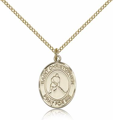 "Gold Filled St. Christopher/Ice Hockey Pendant, GF Lite Curb Chain, Medium Size Catholic Medal, 3/4"" x 1/2"""