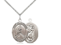 "Sterling Silver St. Christopher/Ice Hockey Pendant, Sterling Silver Lite Curb Chain, Medium Size Catholic Medal, 3/4"" x 1/2"""