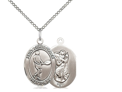 "Sterling Silver St. Christopher/Tennis Pendant, Sterling Silver Lite Curb Chain, Medium Size Catholic Medal, 3/4"" x 1/2"""
