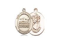"Gold Filled St. Christopher/Swimming Pendant, GF Lite Curb Chain, Medium Size Catholic Medal, 3/4"" x 1/2"""