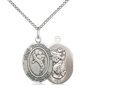 "Sterling Silver St. Christopher/Martial Arts Penda, Sterling Silver Lite Curb Chain, Medium Size Catholic Medal, 3/4"" x 1/2"""