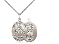 "Sterling Silver St. Christopher/Wrestling Pendant, Sterling Silver Lite Curb Chain, Medium Size Catholic Medal, 3/4"" x 1/2"""