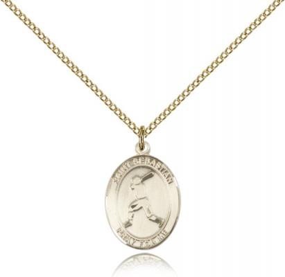"Gold Filled St. Sebastian/Baseball Pendant, GF Lite Curb Chain, Medium Size Catholic Medal, 3/4"" x 1/2"""