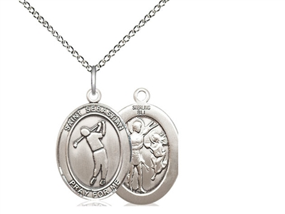 "Sterling Silver St. Sebastian/Golf Pendant, Sterling Silver Lite Curb Chain, Medium Size Catholic Medal, 3/4"" x 1/2"""