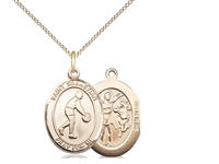 "Gold Filled St. Sebastian/Basketball Pendant, GF Lite Curb Chain, Medium Size Catholic Medal, 3/4"" x 1/2"""