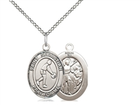 "Sterling Silver St. Sebastian/Basketball Pendant, Sterling Silver Lite Curb Chain, Medium Size Catholic Medal, 3/4"" x 1/2"""