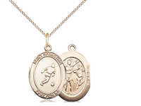 "Gold Filled St. Sebastian/Soccer Pendant, GF Lite Curb Chain, Medium Size Catholic Medal, 3/4"" x 1/2"""