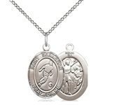 "Sterling Silver St. Sebastian/Soccer Pendant, Sterling Silver Lite Curb Chain, Medium Size Catholic Medal, 3/4"" x 1/2"""