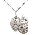 "Sterling Silver St. Sebastian/Ice Hockey Pendant, Sterling Silver Lite Curb Chain, Medium Size Catholic Medal, 3/4"" x 1/2"""