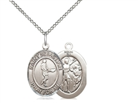 "Sterling Silver St. Sebastian/Tennis Pendant, Sterling Silver Lite Curb Chain, Medium Size Catholic Medal, 3/4"" x 1/2"""