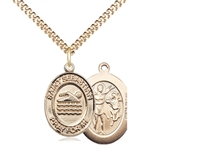 "Gold Filled St. Sebastian/Swimming Pendant, GF Lite Curb Chain, Medium Size Catholic Medal, 3/4"" x 1/2"""