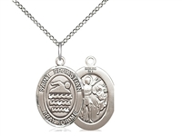 "Sterling Silver St. Sebastian/Swimming Pendant, Sterling Silver Lite Curb Chain, Medium Size Catholic Medal, 3/4"" x 1/2"""