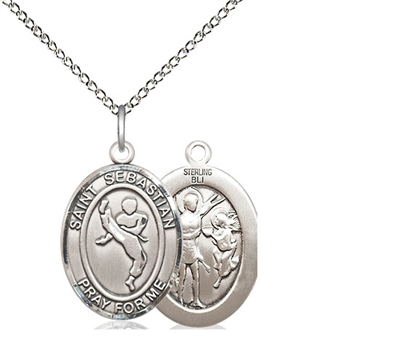 "Sterling Silver St. Sebastian/Martial Arts Pendant, Sterling Silver Lite Curb Chain, Medium Size Catholic Medal, 3/4"" x 1/2"""