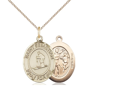 "Gold Filled St. Sebastian/Skiing Pendant, GF Lite Curb Chain, Medium Size Catholic Medal, 3/4"" x 1/2"""