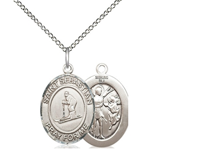 "Sterling Silver St. Sebastian/Skiing Pendant, Sterling Silver Lite Curb Chain, Medium Size Catholic Medal, 3/4"" x 1/2"""