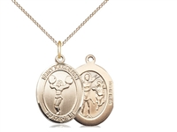 "Gold Filled St. Sebastian/Cheerleading Pendant, Gold Filled Lite Curb Chain, Medium Size Catholic Medal, 3/4"" x 1/2"""