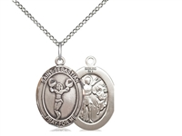 "Sterling Silver St. Sebastian/Cheerleading Pendant, Sterling Silver Lite Curb Chain, Medium Size Catholic Medal, 3/4"" x 1/2"""