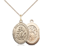 "Gold Filled St. Sebastian/Wrestling Pendant, GF Lite Curb Chain, Medium Size Catholic Medal, 3/4"" x 1/2"""