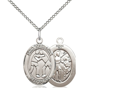 "Sterling Silver St. Sebastian/Wrestling Pendant, Sterling Silver Lite Curb Chain, Medium Size Catholic Medal, 3/4"" x 1/2"""