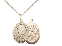 "Gold Filled St. Sebastian/Gymnastics Pendant, GF Lite Curb Chain, Medium Size Catholic Medal, 3/4"" x 1/2"""