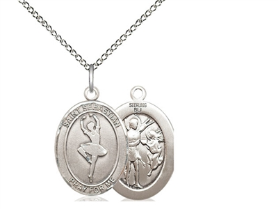 "Sterling Silver St. Sebastian/Dance Pendant, Sterling Silver Lite Curb Chain, Medium Size Catholic Medal, 3/4"" x 1/2"""