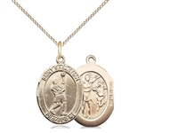 "Gold Filled St. Sebastian/Lacrosse Pendant, Gold Filled Lite Curb Chain, Medium Size Catholic Medal, 3/4"" x 1/2"""