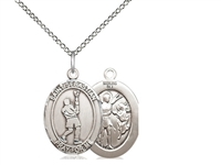 "Sterling Silver St. Sebastian/Lacrosse Pendant, Sterling Silver Lite Curb Chain, Medium Size Catholic Medal, 3/4"" x 1/2"""