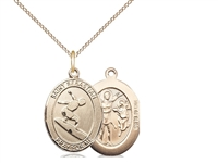 "Gold Filled St. Sebastian/Surfing Pendant, Gold Filled Lite Curb Chain, Medium Size Catholic Medal, 3/4"" x 1/2"""