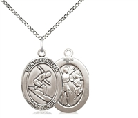 "Sterling Silver St. Sebastian/Surfing Pendant, Sterling Silver Lite Curb Chain, Medium Size Catholic Medal, 3/4"" x 1/2"""