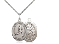 "Sterling Silver St. Sebastian/Track & Field Pendan, Sterling Silver Lite Curb Chain, Medium Size Catholic Medal, 3/4"" x 1/2"""