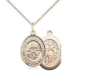 "Gold Filled St. Sebastian/Field Hockey Pendant, Gold Filled Lite Curb Chain, Medium Size Catholic Medal, 3/4"" x 1/2"""