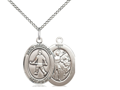 "Sterling Silver St. Sebastian/Field Hockey Pendant, Sterling Silver Lite Curb Chain, Medium Size Catholic Medal, 3/4"" x 1/2"""