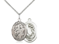 "Sterling Silver St. Cecilia / Marching Band Pendan, Sterling Silver Lite Curb Chain, Medium Size Catholic Medal, 3/4"" x 1/2"""