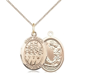 "Gold Filled St. Cecilia / Choir Pendant, GF Lite Curb Chain, Medium Size Catholic Medal, 3/4"" x 1/2"""
