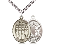 "Sterling Silver St. Cecilia / Choir Pendant, Sterling Silver Lite Curb Chain, Medium Size Catholic Medal, 3/4"" x 1/2"""
