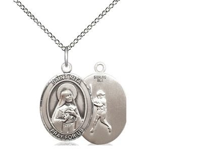 "Sterling Silver St. Rita of Cascia / Baseball Pend, Sterling Silver Lite Curb Chain, Medium Size Catholic Medal, 3/4"" x 1/2"""