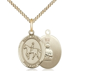 "Gold Filled St. Kateri / Equestrian Pendant, Gold Filled Lite Curb Chain, Medium Size Catholic Medal, 3/4"" x 1/2"""