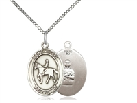 "Sterling Silver St. Kateri / Equestrian Pendant, Sterling Silver Lite Curb Chain, Medium Size Catholic Medal, 3/4"" x 1/2"""