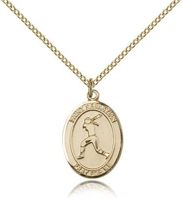 "Gold Filled St. Sebastian / Softball Pendant, Gold Filled Lite Curb Chain, Medium Size Catholic Medal, 3/4"" x 1/2"""
