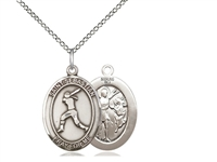 "Sterling Silver St. Sebastian / Softball Pendant, Sterling Silver Lite Curb Chain, Medium Size Catholic Medal, 3/4"" x 1/2"""