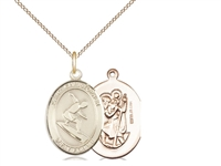 "Gold Filled St. Christopher/Surfing Pendant, GF Lite Curb Chain, Medium Size Catholic Medal, 3/4"" x 1/2"""
