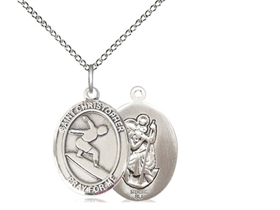 "Sterling Silver St. Christopher/Surfing Pendant, SS Lite Curb Chain, Medium Size Catholic Medal, 3/4"" x 1/2"""