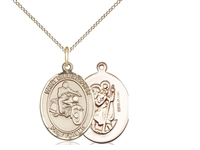 "Gold Filled St. Christopher/Motorcycle Pendant, Gold Filled Lite Curb Chain, Medium Size Catholic Medal, 3/4"" x 1/2"""