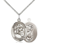 "Sterling Silver St. Christopher/Motorcycle Pendant, Sterling Silver Lite Curb Chain, Medium Size Catholic Medal, 3/4"" x 1/2"""
