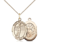 "Gold Filled St. Sebastian / Volleyball Pendant, Gold Filled Lite Curb Chain, Medium Size Catholic Medal, 3/4"" x 1/2"""
