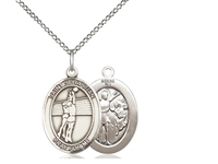 "Sterling Silver St. Sebastian / Volleyball Pendant, Sterling Silver Lite Curb Chain, Medium Size Catholic Medal, 3/4"" x 1/2"""
