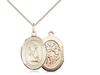 "Gold Filled St. Sebastian / Rugby Pendant, GF Lite Curb Chain, Medium Size Catholic Medal, 3/4"" x 1/2"""