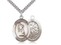 "Sterling Silver St. Sebastian / Rugby Pendant, Sterling Silver Lite Curb Chain, Medium Size Catholic Medal, 3/4"" x 1/2"""