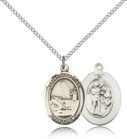 "Sterling Silver St. Sebastian / Fishing Pendant, Sterling Silver Lite Curb Chain, Medium Size Catholic Medal, 3/4"" x 1/2"""